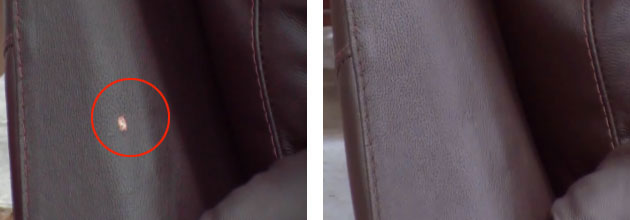 Leather repair example - before and after
