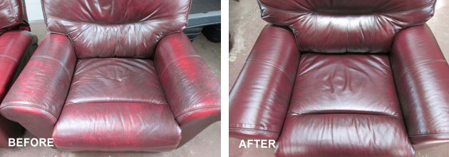 Leather restoration example - before and after