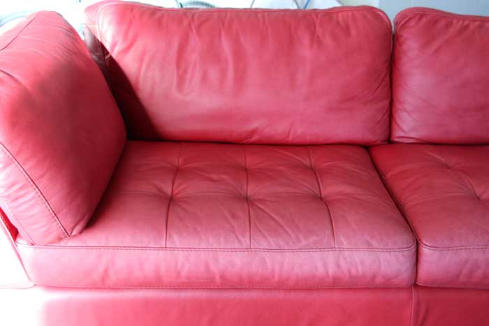 Red couch before starting