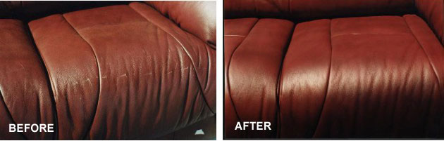 Repaired and refinished leather sofa