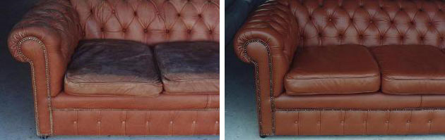 Leather Couch - before and after