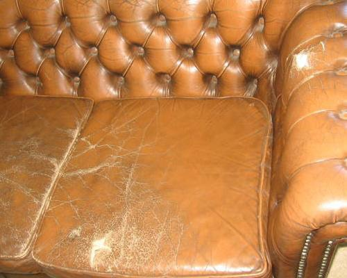 Cracked, Worn And Torn Leather Suite Before